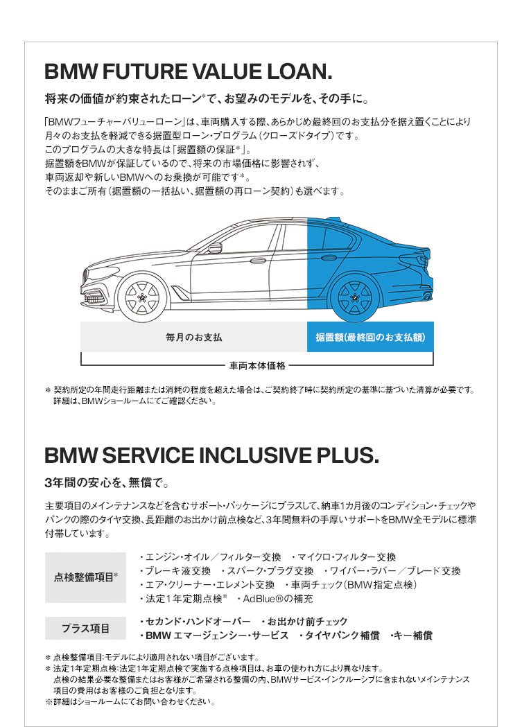 BMW FUTURE VALUE LOAN. / BMW SERVICE INCLUSIVE PLUS.