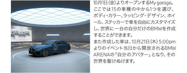 10月1日(金)よりオープンするMy garage。ここでは15の車種の中から1つを選び、ボディ・カラー、ラッピング・デザイン、ホイール、ステッカーで車を自由にカスタマイズし、世界に一台の自分だけのBMWを作成することができます。また作成した車は、10月21日(木)5:00pmよりのイベント当日から開放されるBMW ARENAの「自分のアバター」となり、その世界を駆けぬけます。